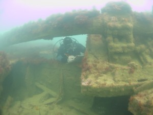 Beneath the prop shaft and bearing on the Joannis Millas